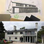 Schets van de nieuwe situatie en de bestaande situatie van het woonhuis aan de Verlengde Marnixstraat in Alphen aan den Rijn
